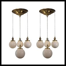 Semi Flush-Mount Chandeliers with Ball Shades, Antique Lighting