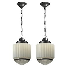 Matching Art Deco Skyscraper Pendant Lights with Two-Part Prismatic Shade