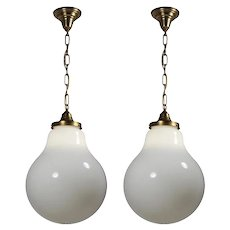 Matching Antique Pendant Lights with Large Unusual Glass Shades