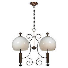 Unusual Antique Bronze Chandelier with Glass Shades