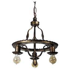 Antique Brass Tudor Three-Light Chandelier