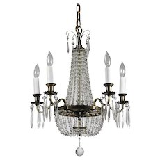 Petite Antique Neoclassical Brass Chandelier with Prisms