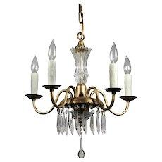 Brass Antique Five-Light Chandelier with Prisms