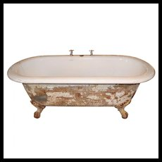 Rare Antique Clawfoot Bath Tub with Center Drain