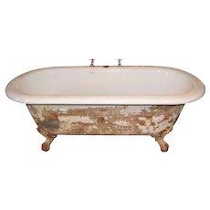 Rare Antique Clawfoot Bath Tub with Center Drain