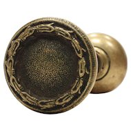 Antique Cast Bronze Doorknob Set, Early 1900s