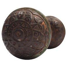Antique Eastlake Cast Iron Doorknob Sets by Norwalk, c.1890