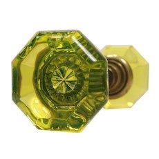 Antique Vaseline Glass Octagonal Door Knobs