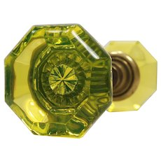 Antique Vaseline Glass Octagonal Door Knobs