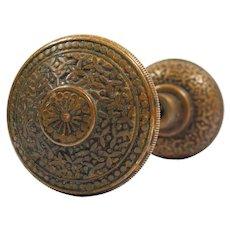 """Antique Cast Bronze """"Rice"""" Door Knob Set by Yale & Towne, c.1885"""