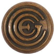 """Antique Cast Bronze Emblematic """"CGE"""" Doorknobs by Sargent, c. 1929"""
