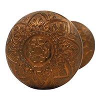 Antique Eastlake Doorknob Set by Russell & Erwin, c. 1874