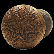 """Antique Bronze """"Star"""" Door Knob Sets by Branford, c. 1886"""