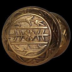 Antique Brass Eastlake Doorknob Set