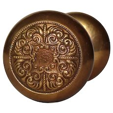 Brass Eastlake Doorknob Set, Antique Hardware