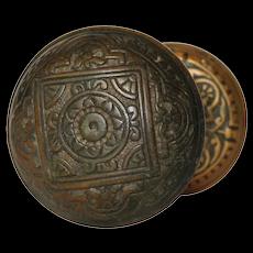 Antique Brass Eastlake Doorknob Set by Corbin, c. 1885