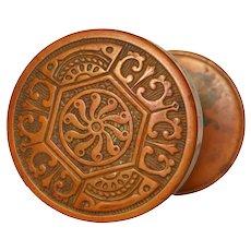 Antique Bronze Eastlake Doorknob Set, c.1885