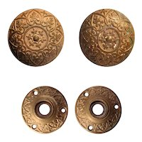 Eastlake Bronze Doorknob Set with Matching Escutcheons, Antique Hardware