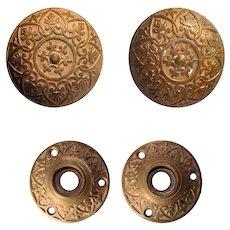 Eastlake Bronze Doorknob Set with Matching Escutcheons, Antique Hardware