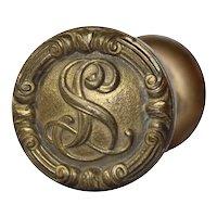 "Antique Emblematic ""L.S."" Doorknob Set from the La Salle Hotel, c. 1909"