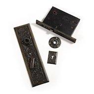 Rare Antique Exterior Figural Door Hardware Set with Dragons, Cast Bronze, Late 1800's