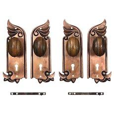 Antique Art Nouveau Door Hardware Sets by F.C. Linde