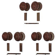 Rare Antique Wooden Door Hardware Sets with Matching Escutcheons, Late 19th Century