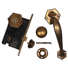 Complete Antique Exterior Brass Lock Set with Thumb Latch