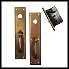 Complete Antique Brass Entry Set with Thumb Latches