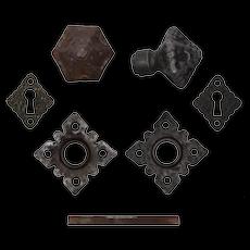 Antique Tudor Doorknob Set with Matching Escutcheons