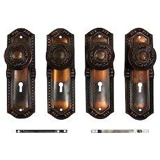 "Antique Brass Russell & Erwin ""Saxonia"" Door Hardware Sets, c. 1909"