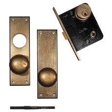 Antique Brass Door Hardware Set, Nashville Union Stockyard