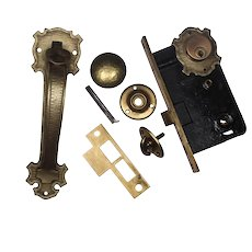 Complete Antique Exterior Lock Set with Thumb Latch by Sargent