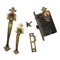 Complete Brass Thumb Latch Entry Set by Welch, Antique Hardware
