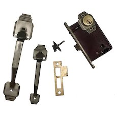Complete Antique Art Deco Thumb Latch Entry Set by Welch