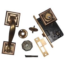 Complete Antique Brass Exterior Lock Set with Thumb Latch