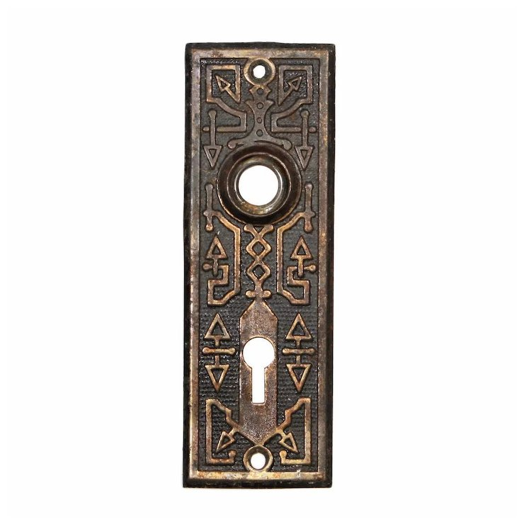 Playful Antique Door Plates with Geometric Design, c. 1880's - Playful Antique Door Plates With Geometric Design, C. 1880's