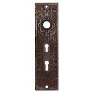 Antique Cast Iron Fleur-de-Lis Exterior Doorplate, Signed Mallory Wheeler Co.