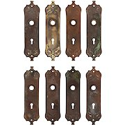 """Antique """"Westminster"""" Cast Iron Door Plates by Reading, c.1910"""