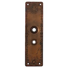 Neoclassical Cast Bronze Entry Backplates, Antique Hardware