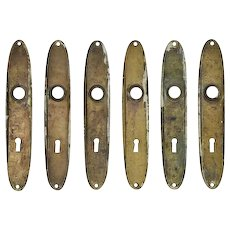 Antique Art Deco Door Plates in Cast Brass, c. 1920