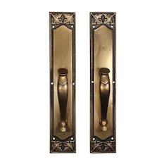 "Oversized Antique 20"" Cast Brass Door Handles / Pulls, C. 1910"