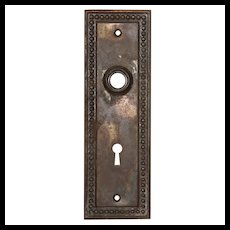 Antique Neoclassical Beaded Door Backplates, Early 1900's