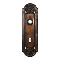 """Antique Neoclassical Arched Door Plates, """"Nubian"""" by Yale & Towne, c. 1910"""