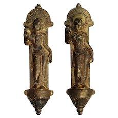Antique Cast Bronze Figural Door Handles