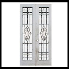 "Antique 42"" Door Pair with Leaded and Beveled Glass"