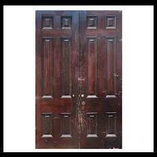 "Salvaged 59"" Solid Wood Antique Door Pair"