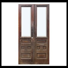 "Salvaged 45"" Pair of Antique Doors with Beveled Glass"