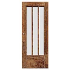 "Salvaged 34"" Oak Craftsman Door with Beveled Glass"