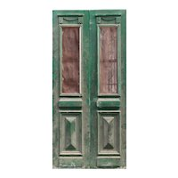 "Salvaged Pair of 42"" French Colonial Doors with Iron Inserts"